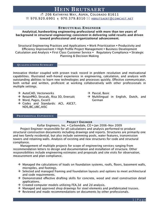 structural engineer resume Engineering employer preferred resume format a resume is an organized summary of your qualifications, your goals, your accomplishments, and your interests.
